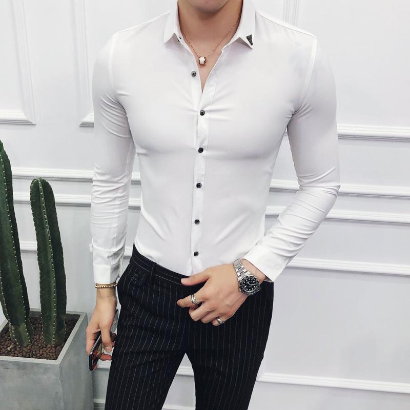2018 Luxury Shirts Mens 웨딩 턱시도 셔츠 Office Camisas Lujo Hombre 소셜 클럽 Red Slim Fit Dress White Mens