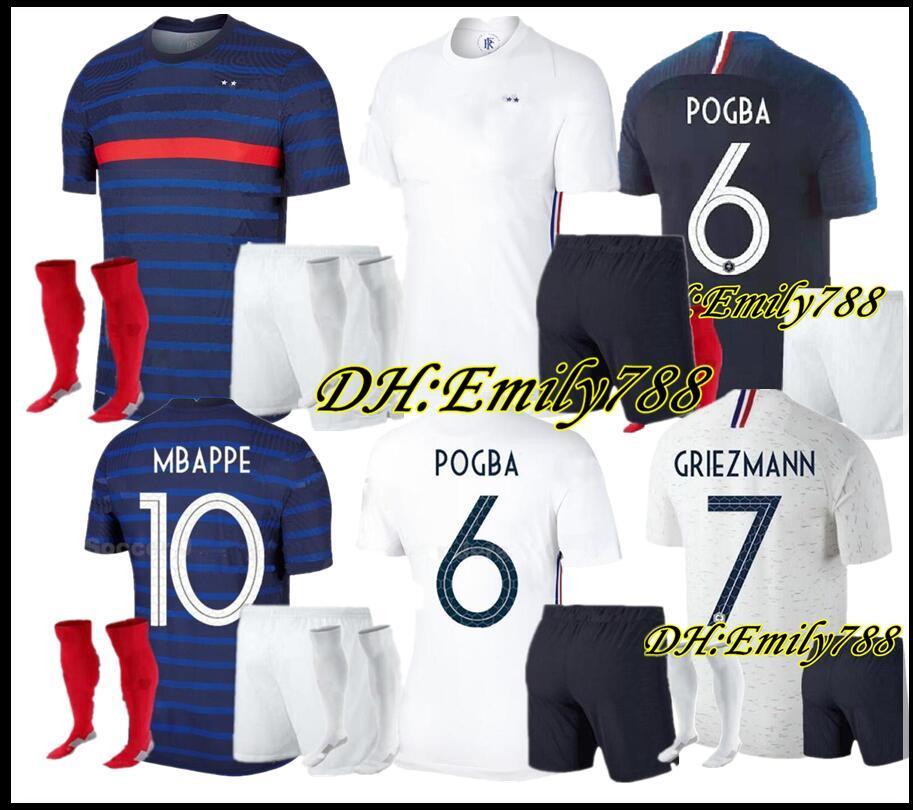 Kit per adulti 2018 Mbappe Pogba 2 stelle FRANCIA maglia da calcio Griezmann Varane HERNANDEZ Uomini Football Kit Camicia THAUVIN 20 21 PAVARD maillot de