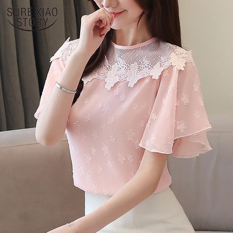 Sweet Girl Summer Chiffon Blouse Women Short Sleeve Lace Women Tops Office Lady Fashion Pullover Shirt Chemisier Femme 8613 50