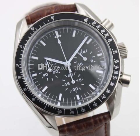 Maître montre Chronometer Co-Axial Montres Hommes Sport 40MM Quartz APOLLO Top Marque Astronautes Montres-bracelets sur une bande en cuir