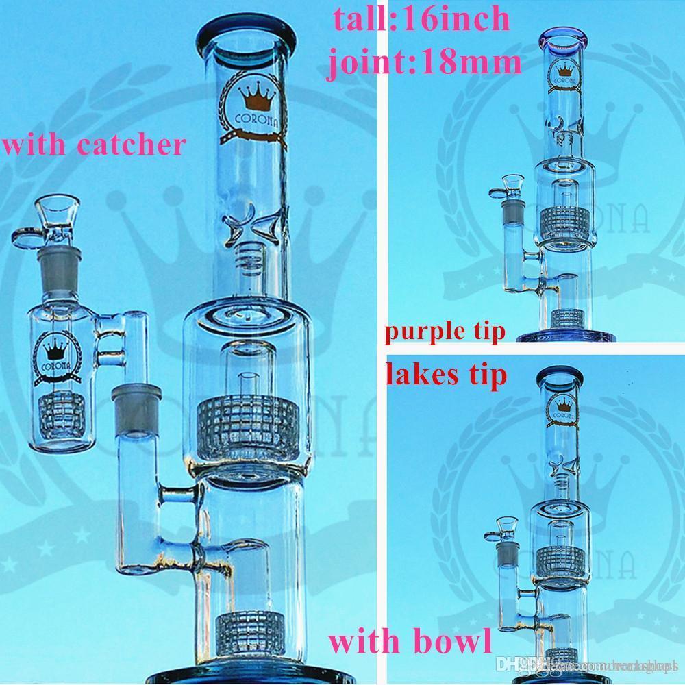 Su boruları bong Bong Üçlü Corona kuş kafesi Duş Percolater Waterpipe kase Çift Matrix mikroskop Percolator Klein Recycler pembe cam