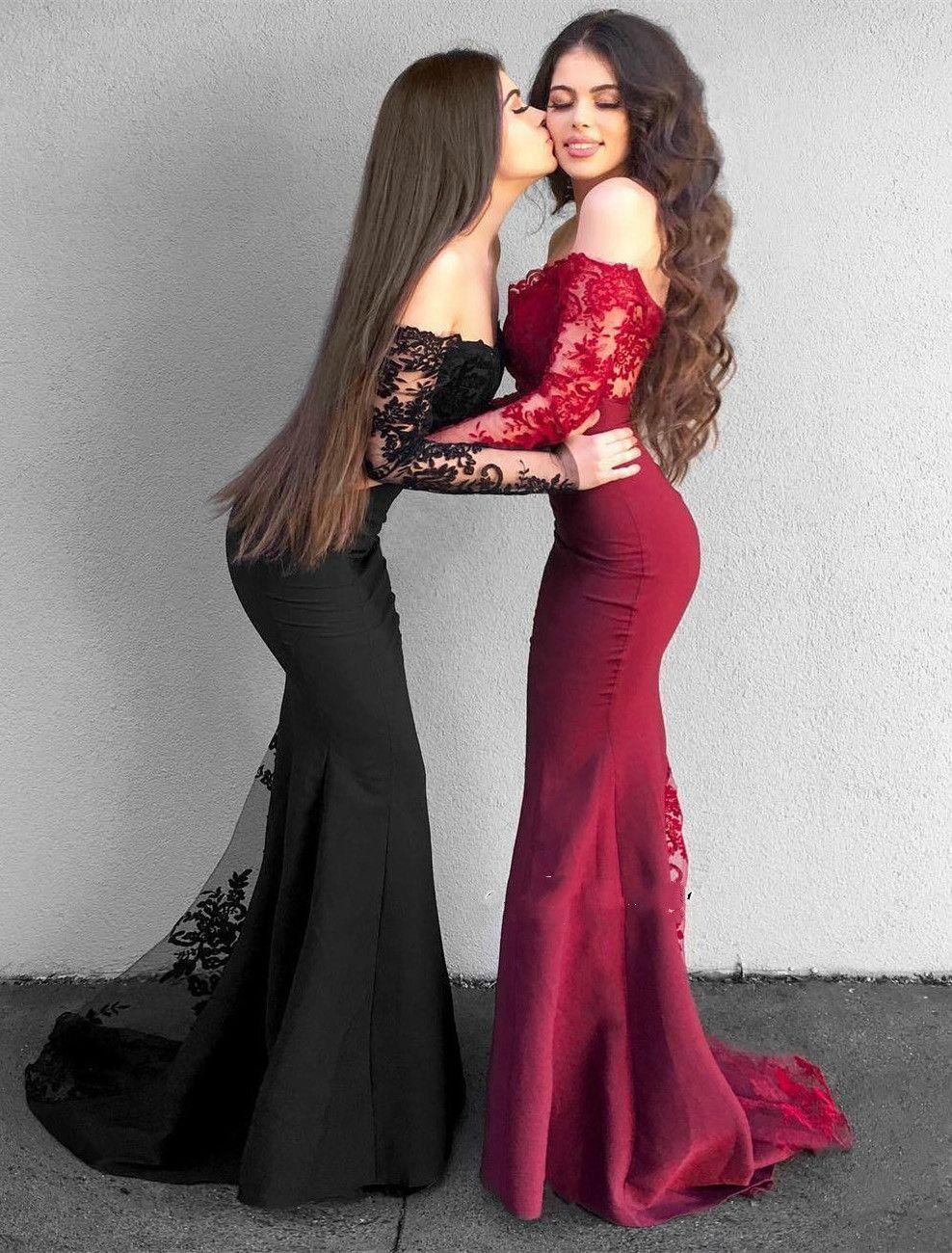 Robes de bal de sirène de dentelle rouge noir noir appliques de l'épaule manches longues occasionnels robes robes de soirée robe de demoiselle d'honneur
