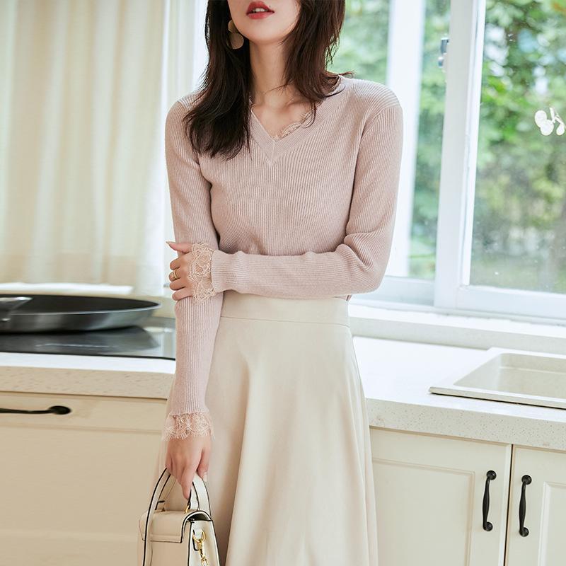 autunno e inverno semplice temperamento ispessimento che basa maglione temperamento V-collo femminile cucitura maglione grigio