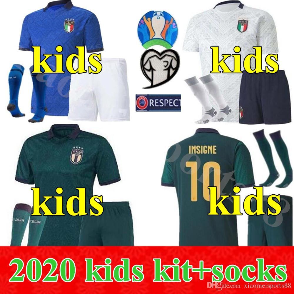2020 مسابقة كأس الاتحاد الاوروبي لكرة القدم بالقميص إيطاليا إيطاليا INSIGNE BELOTTI VERRATTI KEAN BERNARDESCHI 20 21 الاطفال مجموعة الأولاد الشباب لكرة القدم قميص الزي الرسمي