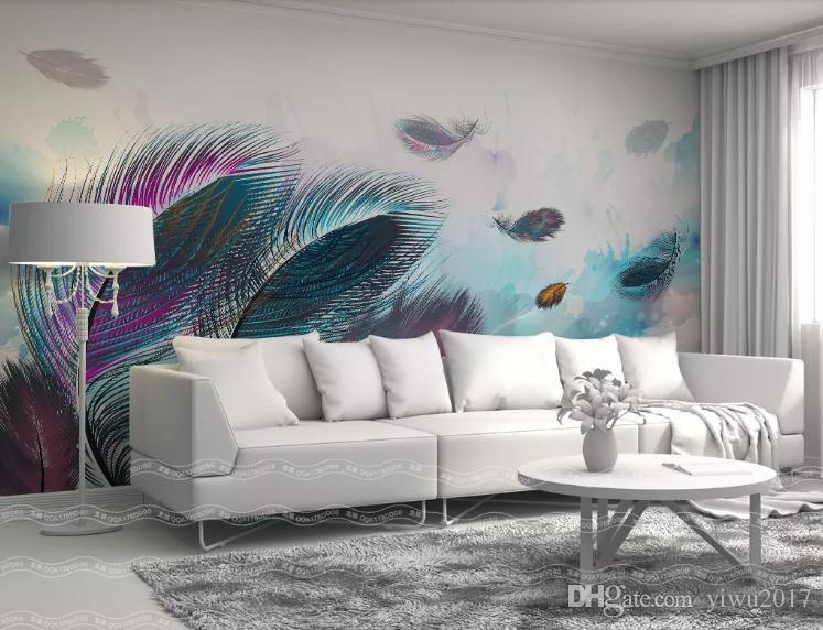 Murale su misura Grande parete pittura moderna 3D StereoscopicoBeautiful colore piuma arte Soggiorno TV Sfondo Wallpaper