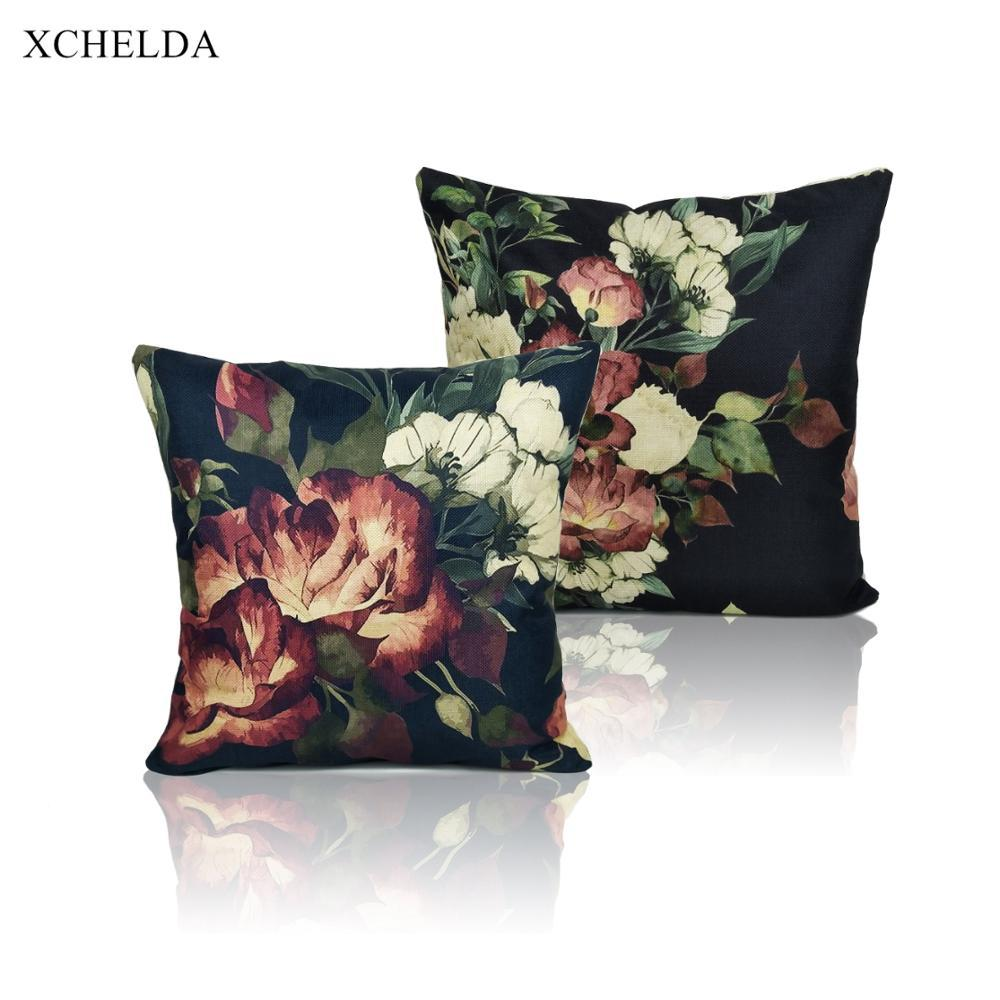 Housse de coussin décoratif Les coussins de cas 45 * 45 Linge Floral Pillowcases Car Seat Lit Décoration pour Canapé Fundas cojins