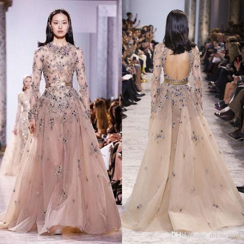 Абрикосы Полное 3D Цветочные аппликациями Элегантные вечерние платья с длинным рукавом Backless Пром платье Runway Мода Платье