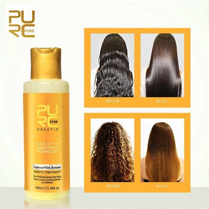 PURC 12% Banana flavor Keratin treatment Straightening hair Repair damaged frizzy hair Brazilian keratin treatment 100ml