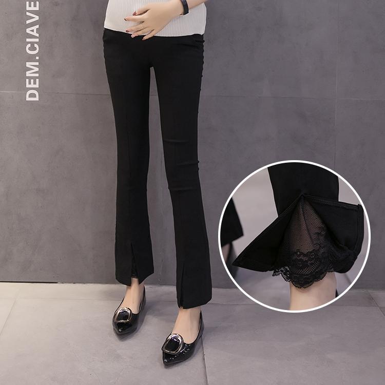 Schwangere Frauen Knöchellangen Chiffon Bootleg Hosen Hohe Taille Mutterschaft Bauch Hosen Elegante Büro Dame Lange Hosen Großhandel
