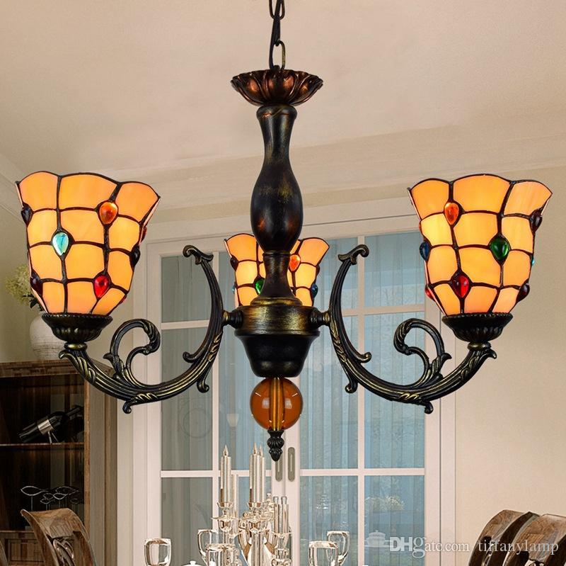 Tiffany Candelabro Iluminação LED Luster Cozinha vitral Phoenix Sombra Hanglamp Sala de jantar de suspensão Dispositivo elétrico claro