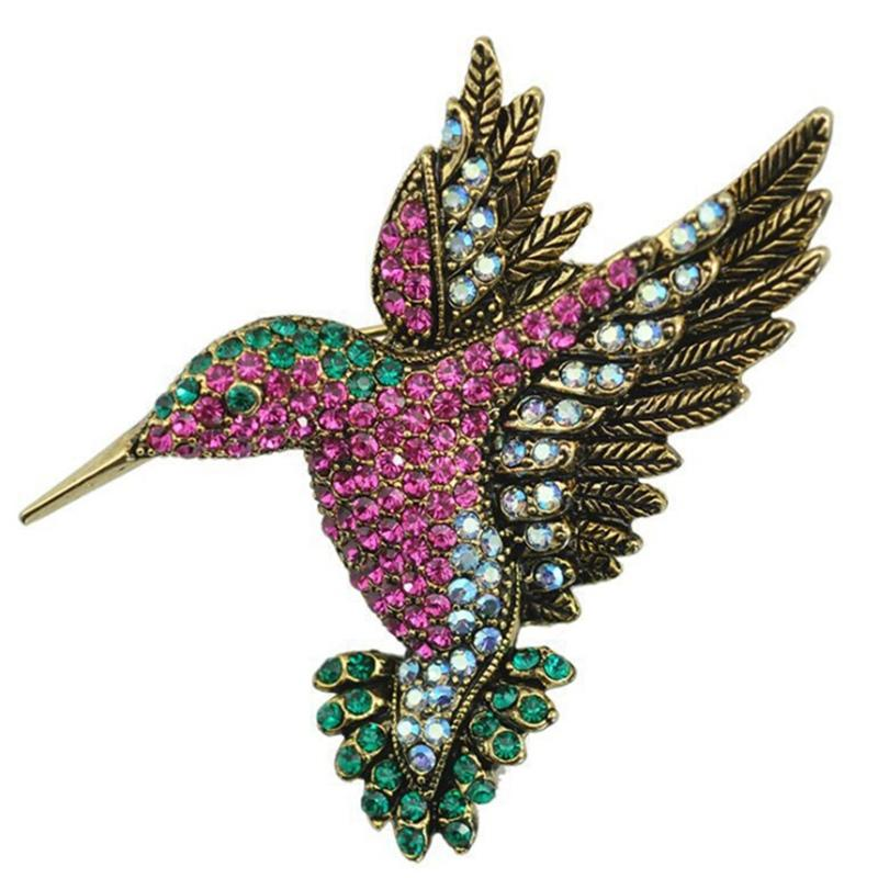 Colorful Rhinestone Hummingbird Brooch Animal Brooches for Women Korean Fashion Accessories jewelry pins 10pcs/lot free shipping