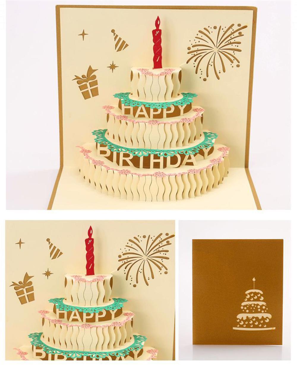 Оптовая продажа 3D поздравительная открытка ручной работы одиночные свечи на день рождения 1 карта 3D творческая бумага резьба карты индивидуальные HK009