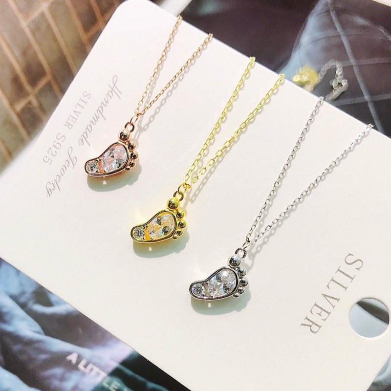 Exquisite Jewelry Whole 100% 925 Sterling Silver Cute Foot Pendant Necklaces Lasting Shine Magic Footprint Chain with Crystal