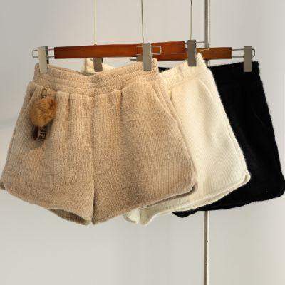 Mink Velvet Elastic cintura alta Mini Shorts Mulheres New Moda inverno calças perna larga Curto Feminino Casual High Street Shorts