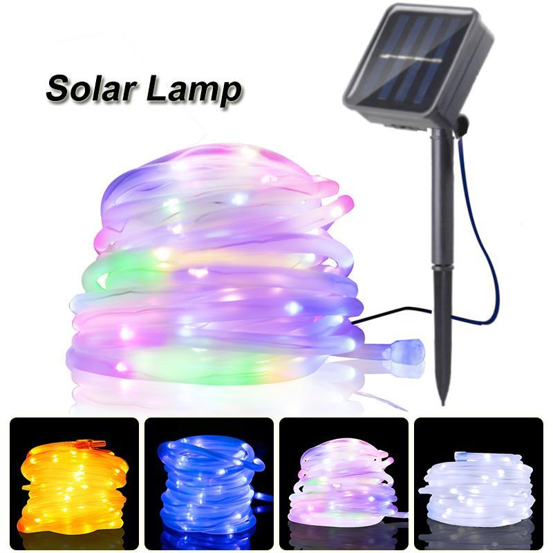 حبل أنبوب LED مصباح للطاقة الشمسية 50/100 المصابيح أضواء سلسلة في الهواء الطلق الجنية عطلة عيد الميلاد للطاقة الشمسية حديقة الخفيفة للماء بالطاقة الشمسية لوز