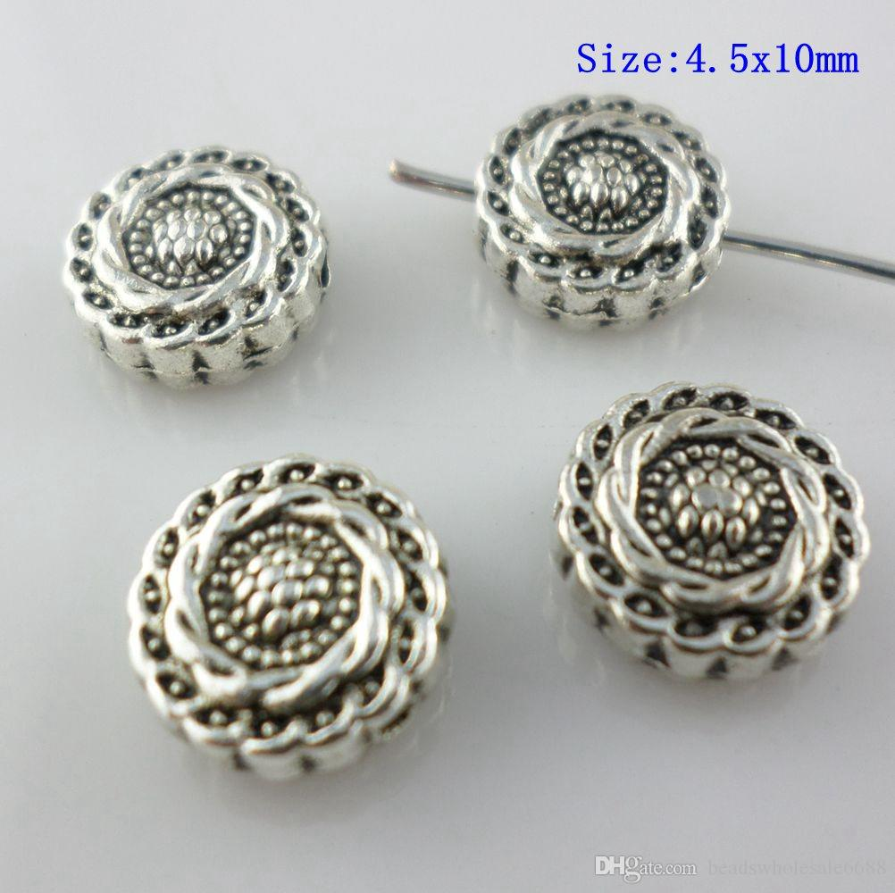50pcs Flat Round Tibetan Silver Alloy Carved Vortex Beads Spacer Crafting 8x4mm