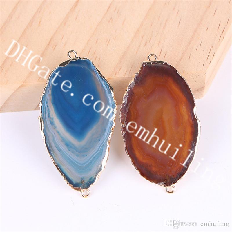 10Pcs Freeform Gold Plated Edge Natural Geode Agate Slice Charm Pendants Blue Brown Drusy Stone Quartz Gemstone Two Loops Links Connectors