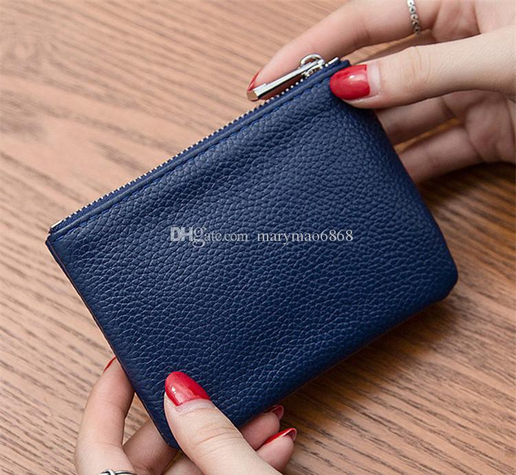 Womail Women Leather New Fashion Wallet Card Coin Holder Short Handbags Dark Blue