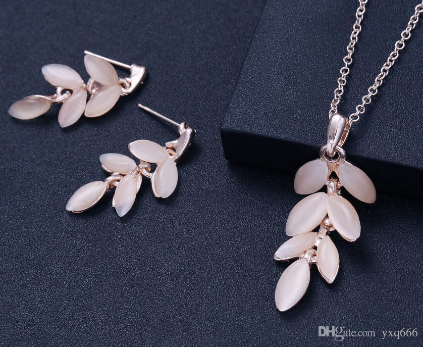 Conjunto de joyas populares ópalo novia collar pendientes conjunto de joyas