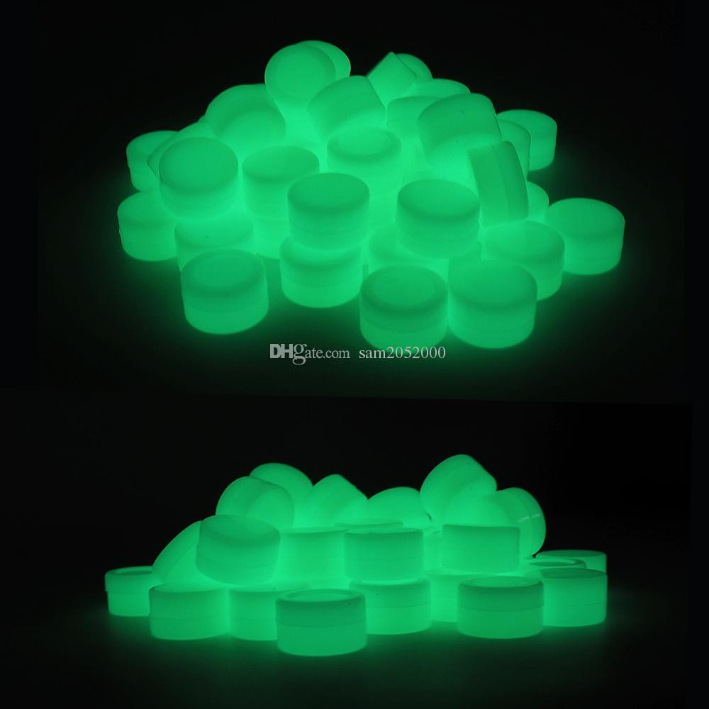 Brillan en la oscuridad 5pcs / lot 5ML aprobado recipiente de silicona recipiente cuadro de cera de silicona Contenedores de silicona tarros para vaporizador hierba seca