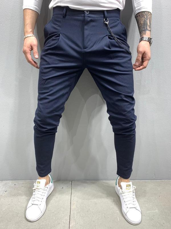 Italian Cut Street lässige Männer Hosen Marineblau