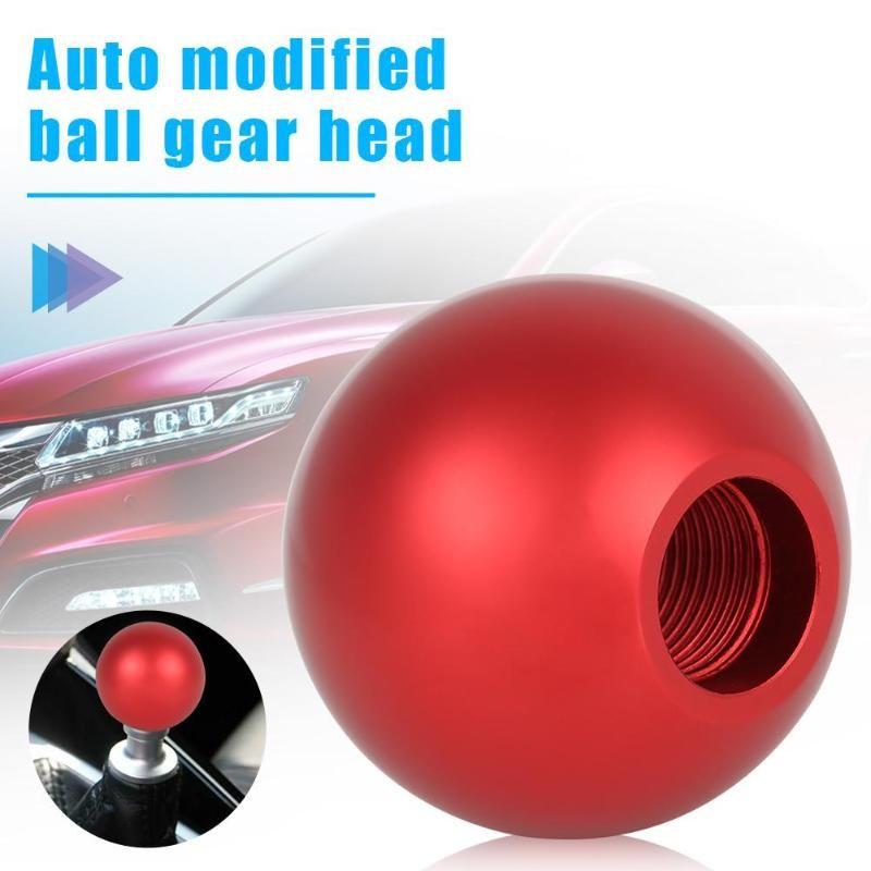 Silver LUNSOM Leather Manual Shifter Knob 5 Speed Round Aluminium Alloy Blue Ball Car 5-spd Gear Shift Stick Head