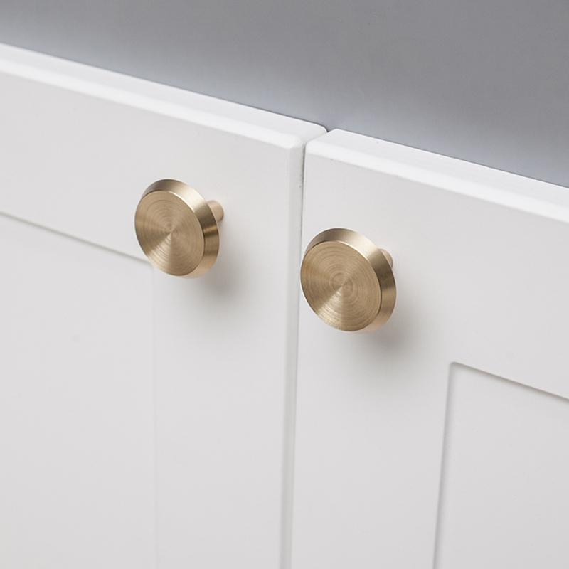 Nordic Gold Brass Cabinet Door Knobs and Handles Kitchen Furnitures Cupboard Wardrobe Drawer Pulls Single Hole Handles