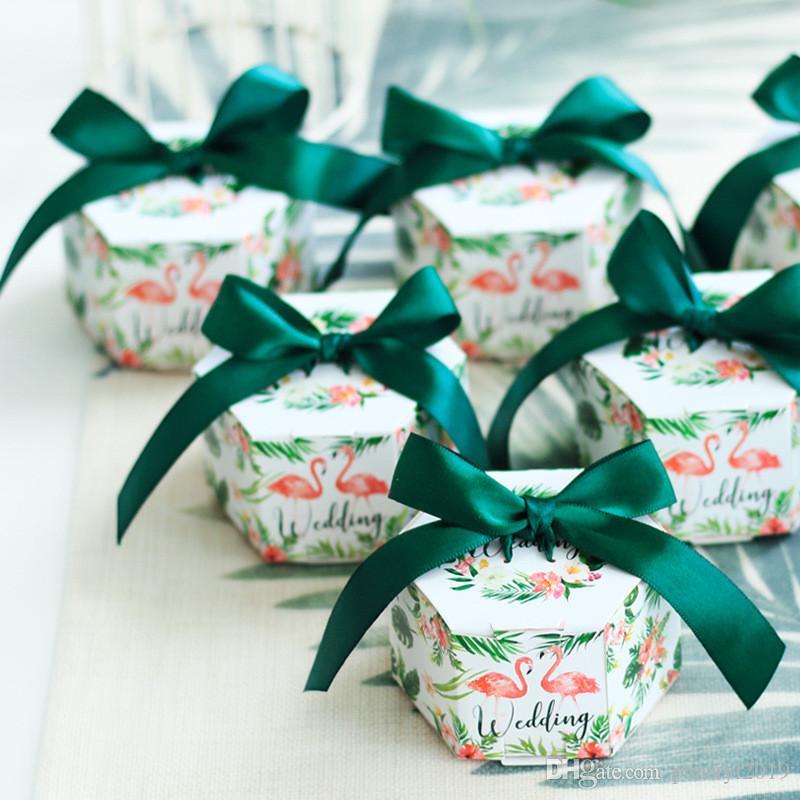 Yaratıcı Flamingo Altıgen Şeker Kutuları Düğün Iyilik Ve Hediyeler Kutusu Parti Malzemeleri Bebek Duş Çikolata Kutuları Paketi