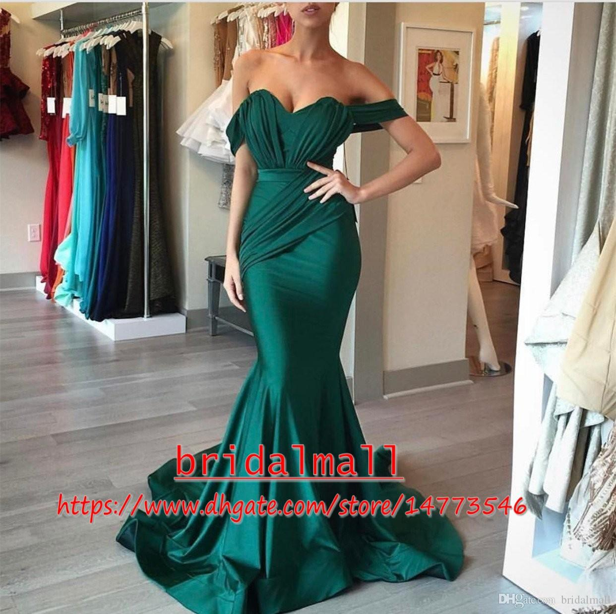 c4e565abfd5 Off-Shoulder Emerald Green Long Prom Dresses 2019 Sexy Pleats Satin Formal Party  Gowns Plus