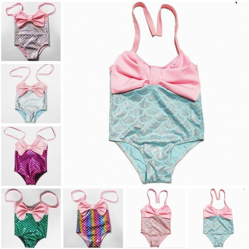 طفل حورية البحر ملابس السباحة للأطفال BOWKNOT واحدة قطعة بيكيني الصيف بنات السمك الذيل ملابس السباحة البدلة الطفل الأزياء وملابس AYP651