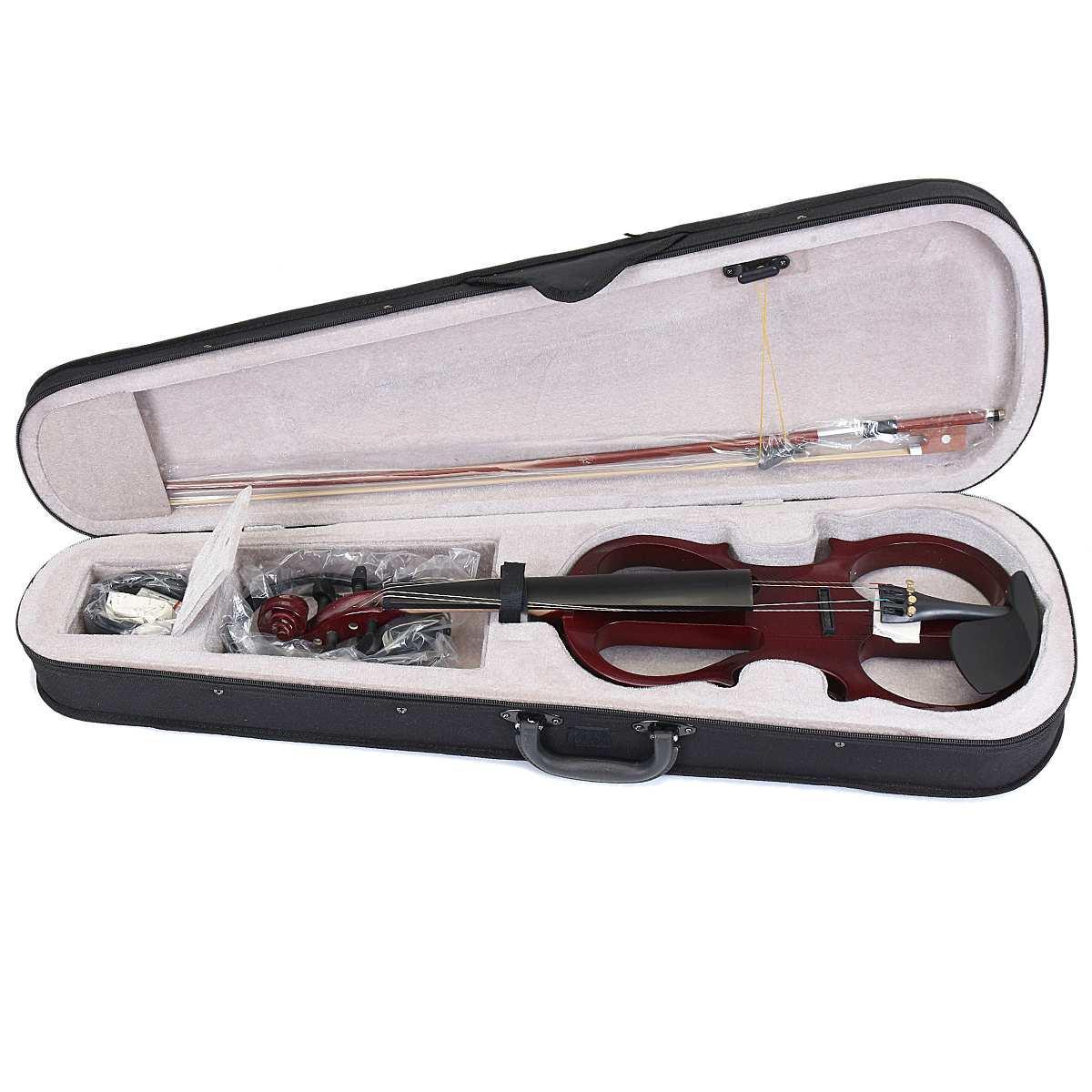 SENRHY 4/4 eléctrico del violín del violín Instrumento de cuerdas de tilo con accesorios de cable de los auriculares de casos para la música de los amantes de los principiantes