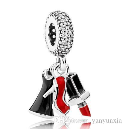 Original 925 encanto de plata esterlina joyería del grano Vestido lápiz labial estilete con esmalte colgante Fit Pandora pulsera, collar