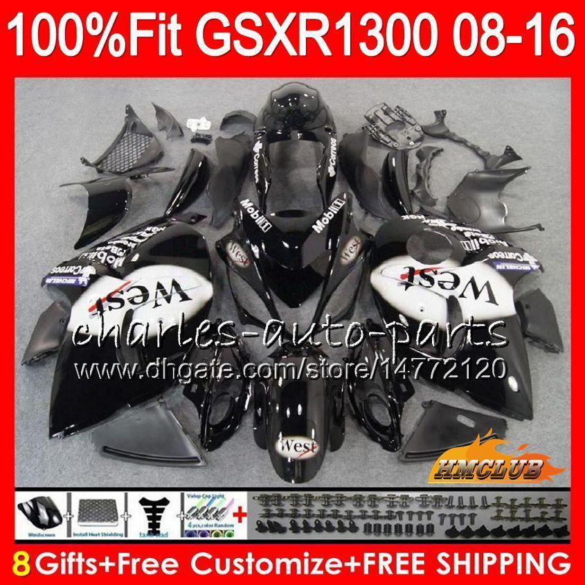 Injektion för Suzuki GSXR1300 Hayabusa 08 09 10 2008 2009 2010 25HC.15 West Black GSXR 1300 GSXR-1300 11 12 13 2011 2012 2013 OEM FAIRING