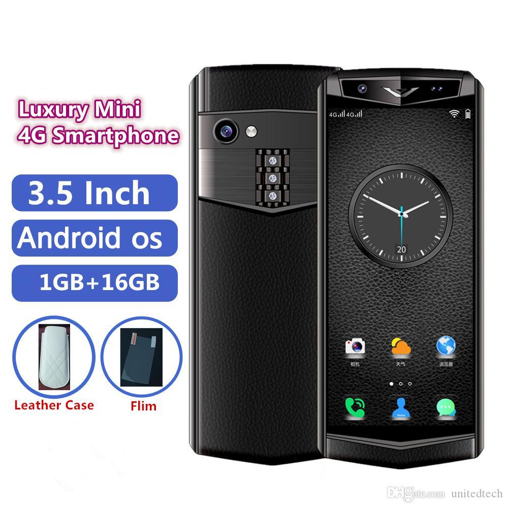 Kilidi Süper mini 4G LTE Android akıllı telefon Lüks Metal 3.5 İnç Face ID Destek Google Play Çift Sim Kart Deri Cep telefonu Ücretsiz Kılıf