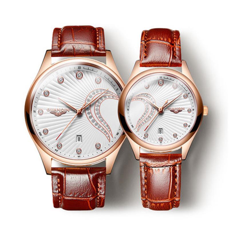 GUANQIN 2019 Criativo Designer Assista Homens Mulheres de couro impermeável Watch Set Magro Mesh Belt Relógio Ladies Watch Relógio Feminino