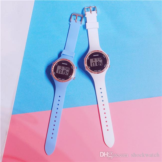 Silicone Rubber Colorful Sport LED Watches Candy Jelly Cute Digital Designer Watch Free Shipping Good Gift For Women & Girl