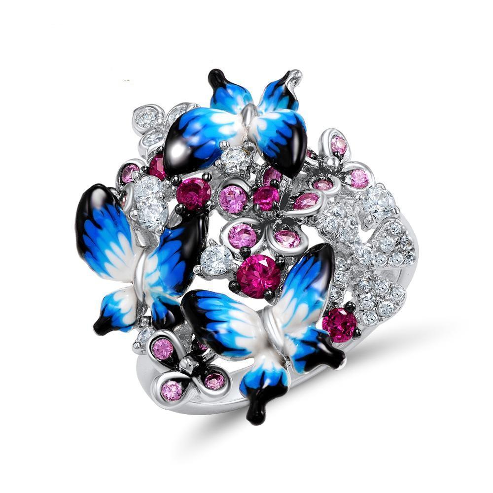 Fascino Tre fiore di farfalla Micro-intarsiato zircone Anello di fidanzamento Anello dello smalto per monili delle donne della festa nuziale
