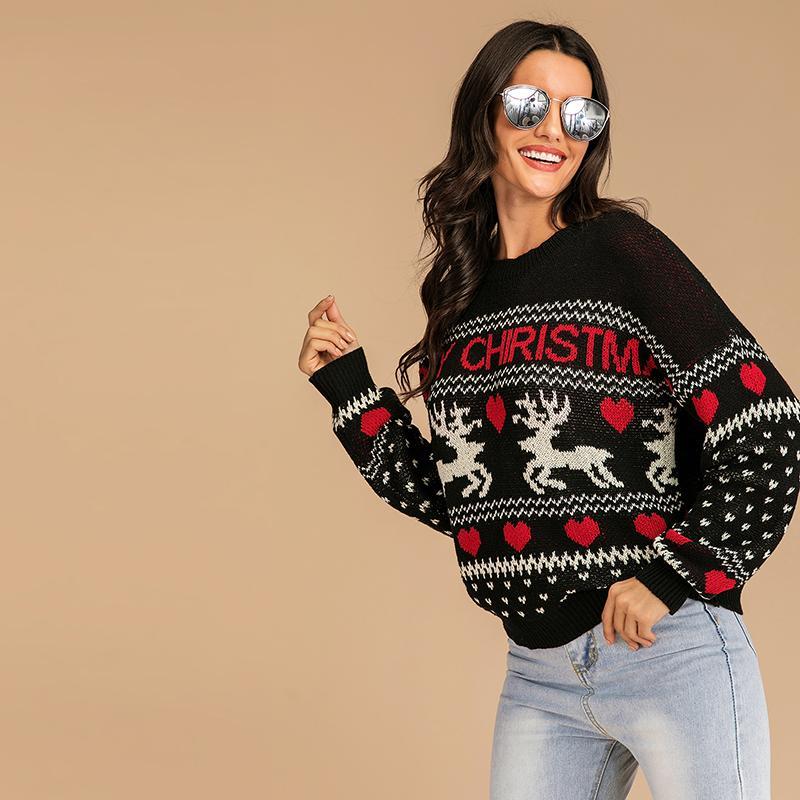 NUEVO 2020 para casarse con COLORES Festival de Navidad JERSEY BORDADO GEOMETEIC CUELLO DE EQUIPO DE MATERIAL negro suave suéter de las señoras ENVÍO GRATIS