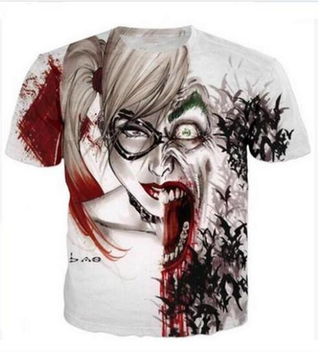 Casual uomo Womans Harley Quinn Joker 3D HD Stampa T-shirt Estate a maniche corte T-shirt O-Collo Stile di modo Unisex Shirt Marca Tees RX023
