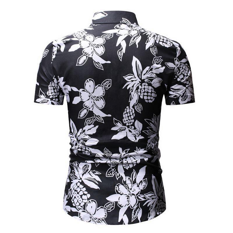 Atacado-Oeak 2020 de Moda de Nova Men verão camiseta de manga curta Floral Imprimir Botão Casual para baixo camiseta
