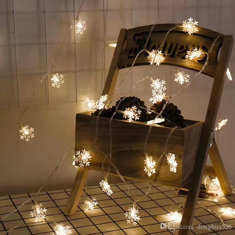 LED Snowflake String Lights Snow Fairy Garland Decoration for Christmas tree New Year Room Valentine's day Battery Plug Operated