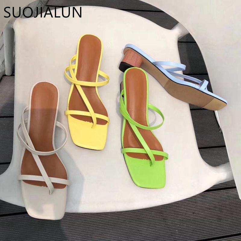 SUOJIALUN 2019 Marque d'été Femmes Slipper talon bas Slides Femme Peep Toe talon carré Sandal vacances Tongs mujer Chaussures S20331