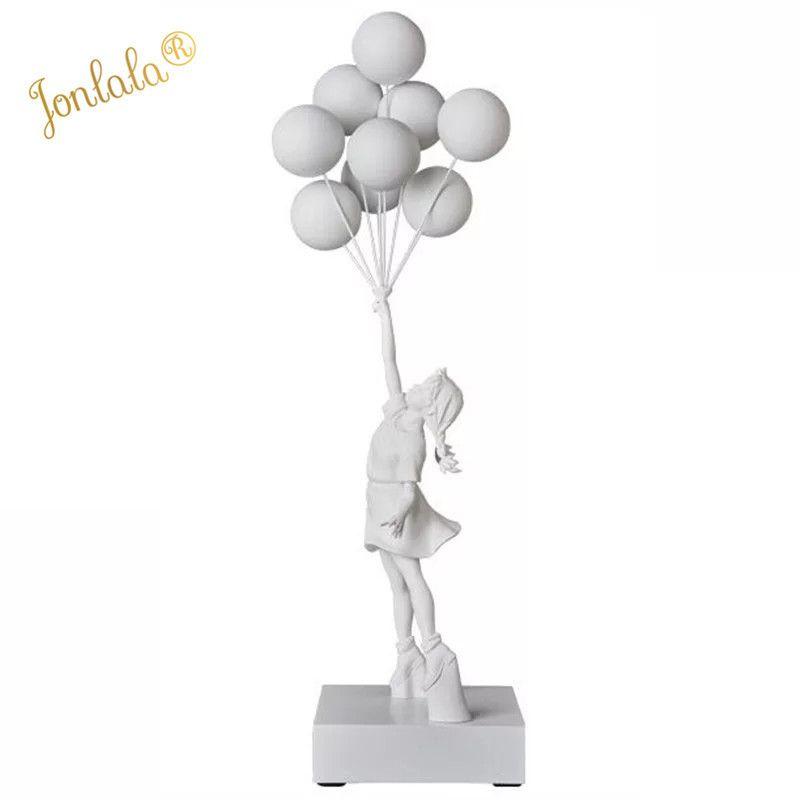 الفاخرة تماثيل بالون فتاة بانكسي الطائر البالونات فتاة نحت عمل فني الحرف الراتنج ديكور المنزل هدية عيد الميلاد 57CM T200619