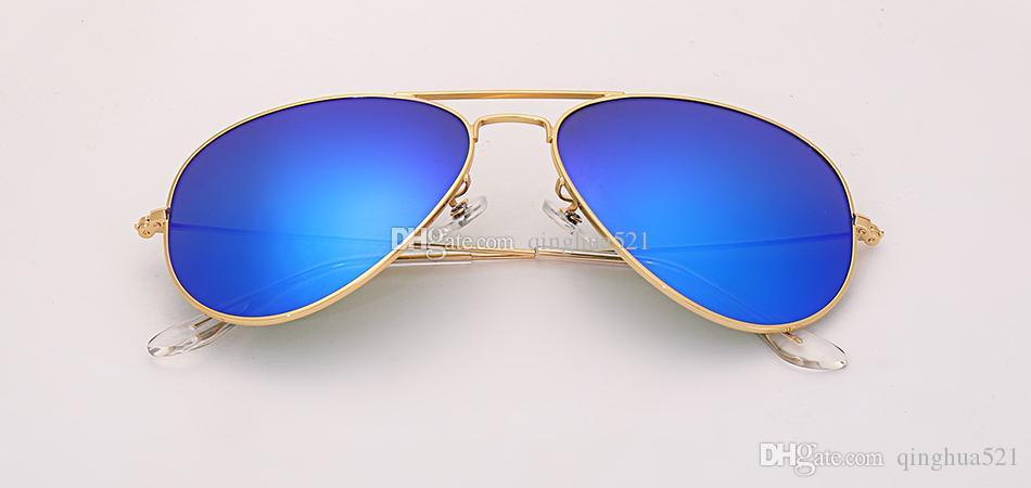 2019 hot Sale Ray3025 solid color glass lens aviation sunglasses men's 58mm pilot classic brand glasses mirror lens UV400