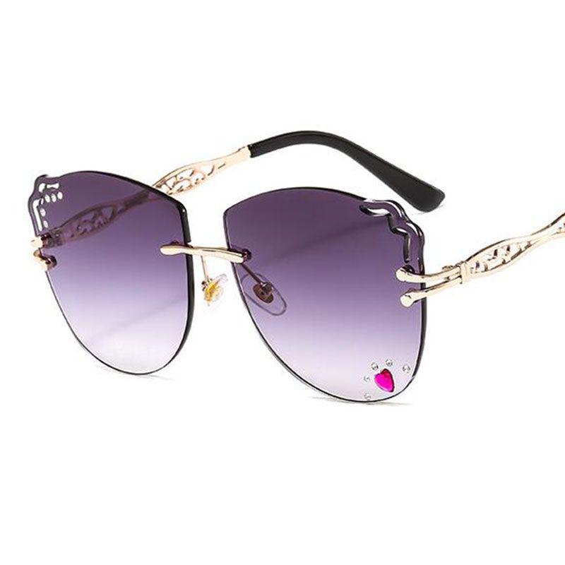 Brille rahmenlose katze sonnenbrille frauen weibliche herz gläser sonne diamant eyewear auge einzigartig auge strassförmige katze new uv400 mhabx