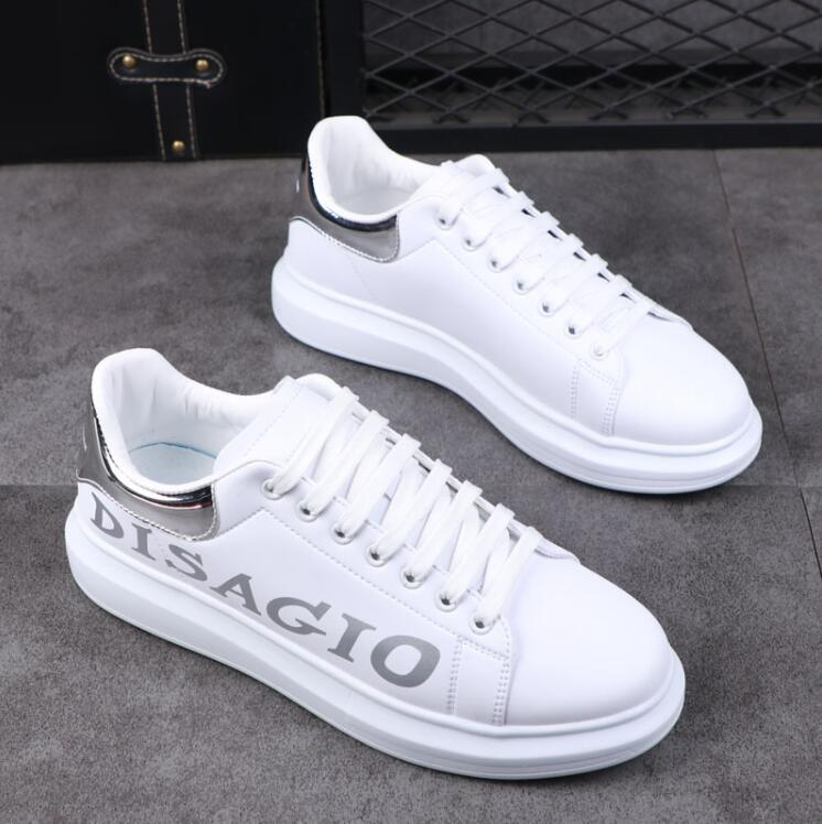 luxe little white shoes letter style platform casual shoes couple leather men's large size high quality versio