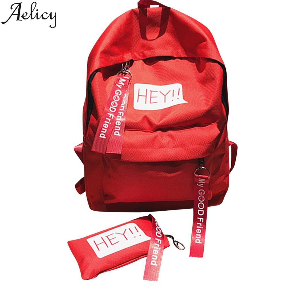 Aelicy 2019 Women Fashion Girls Unisex Canvas Print Two Set Backpack Double Shoulder Bag School Bag Travel Student Schoolbag
