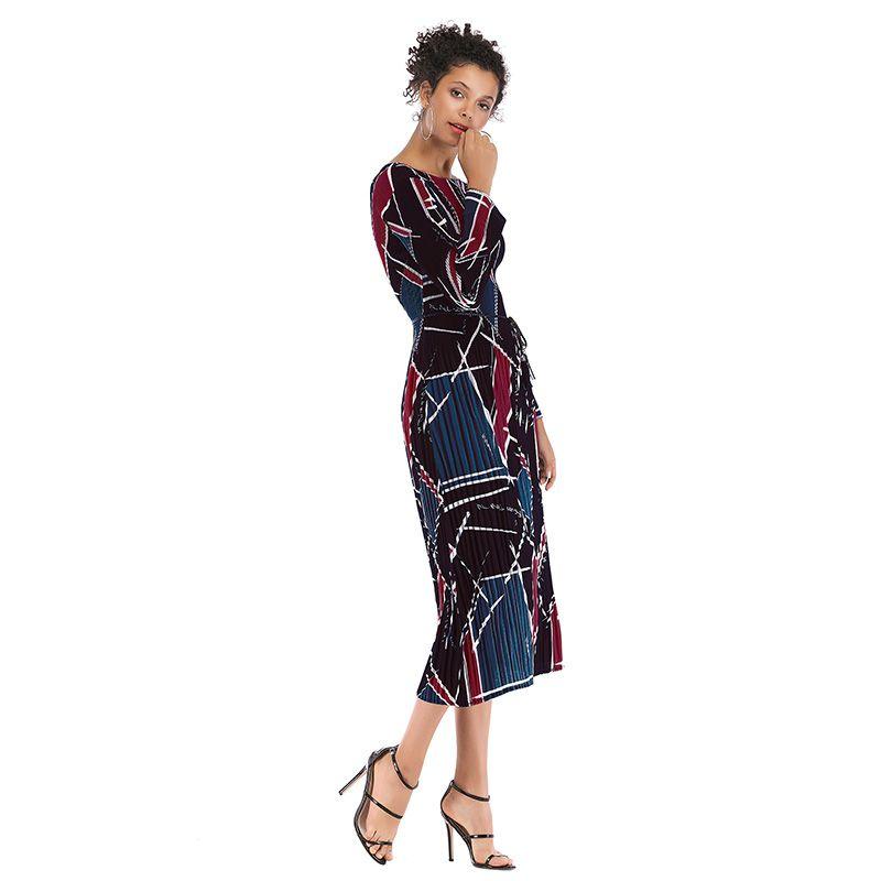 2019 Turn Down Collar Office Ladies Stripe Shirt Dress Long Chiffon Beach Dress Casual Long Sleeve Elegant Party Dress Vestidos