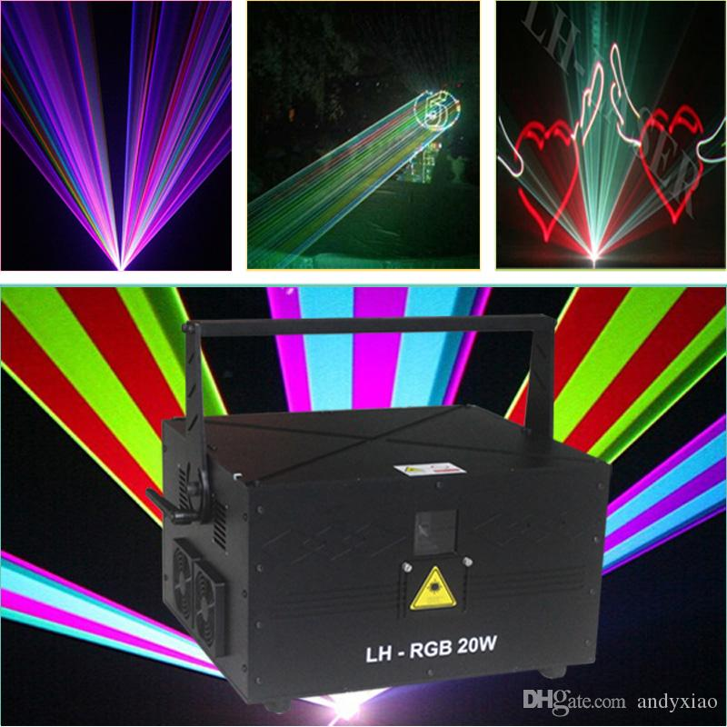 SD Card ILDA DMX512 Professional 20W Analog full color rgb stage lighting Pc control Laser light with 45kpps galvo scanner