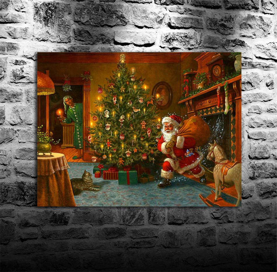 Santa Claus and Christmas Tree,HD Canvas Printing New Home Decoration Art Painting/(Unframed/Framed)